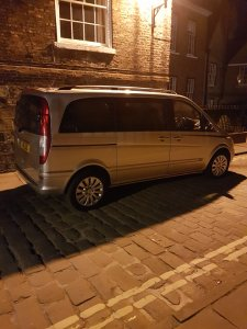 Our beautiful Mercedes viano outside the York Minster at night