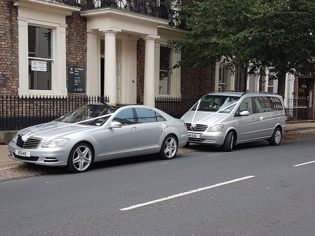 Two Mercedes Wedding cars outside York registry office