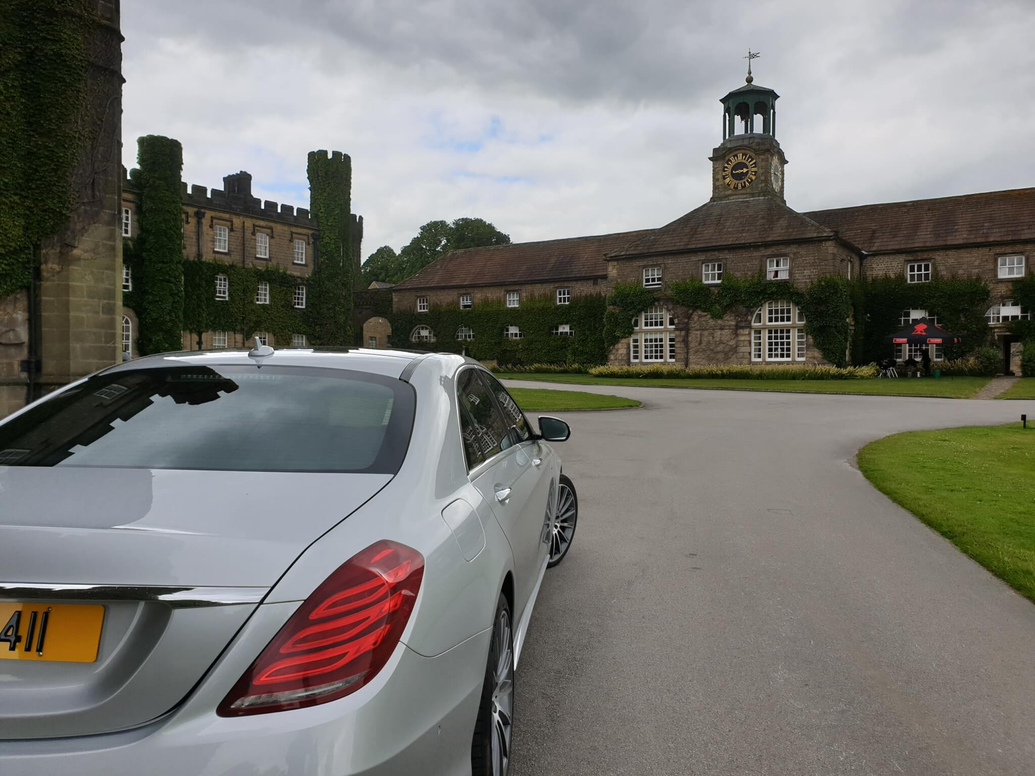 A lovely picture of our 2018 Mercedes s class limousine At a Fantastic House Near Ripon