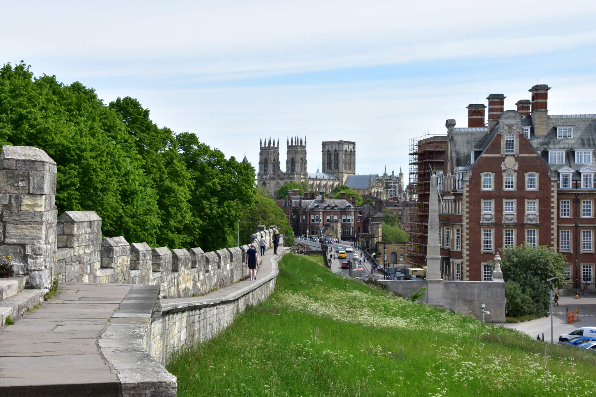 Picture of the bar walls in York with the York Minster And The Grand Hotel in the background