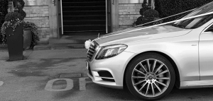 Beautiful Silver Mercedes s class wedding car Outside The Principal Hotel In York