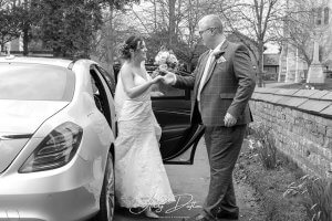 Our Mercedes wedding car with bride to be and father stood next to it