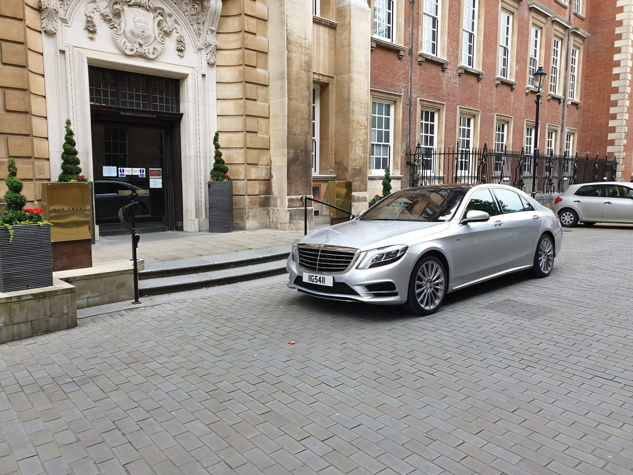 2018 Mercedes s class outside The Grand Hotel in York
